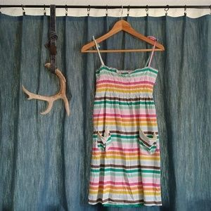 Rainbow Striped Dress w/ Pockets